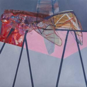 Czerwona poduszka, różowe prześcieradło - Agata Czeremuszkin-Chrut (2013), obraz olejny na płótnie