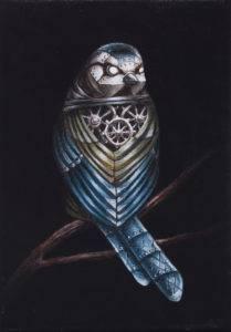Sikorka modra - Emil Goś (2017), obraz olejny na płótnie