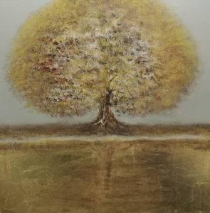 Przeglądając się w złotej rzecze - Mariola Świgulska (2019), akryl, szlagmetal, płótno