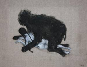 Nocny zwierz, 40 x 50 cm, akryl, olej,2015