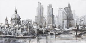 london city - Czesław Piotr Szczepański (2017), tusz, akryl, płótno