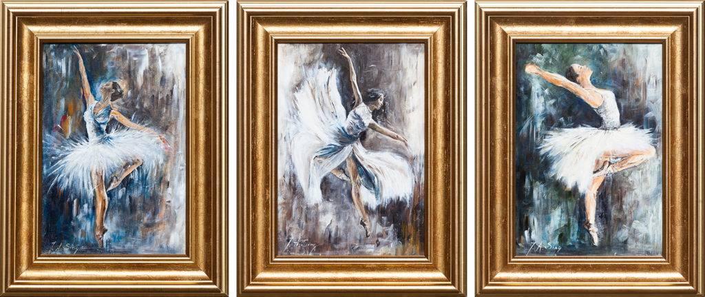 Baletnice (tryptyk) - Aurelia Sikiewicz-Wojtaszek (2019), akryl, tektura