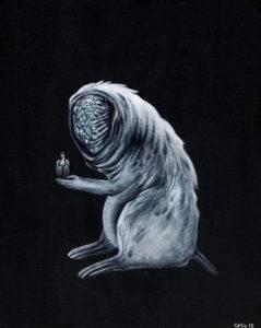 Oswojony z cyklu Moja skóra - Magdalena Cybulska (2019), obraz olejno-akrylowy na płótnie