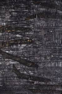 Czyż Jakub;Kompozycja 8; Postęp 2;akryl,węgiel,spray,płótno;120x80cm;2019