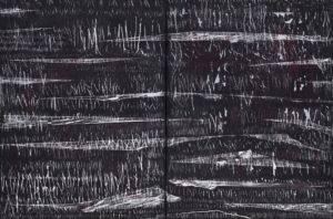 Czyż Jakub;Kompozycja 9; Postęp 3akryl,węgiel,spray,płótno;61x92cm;2019