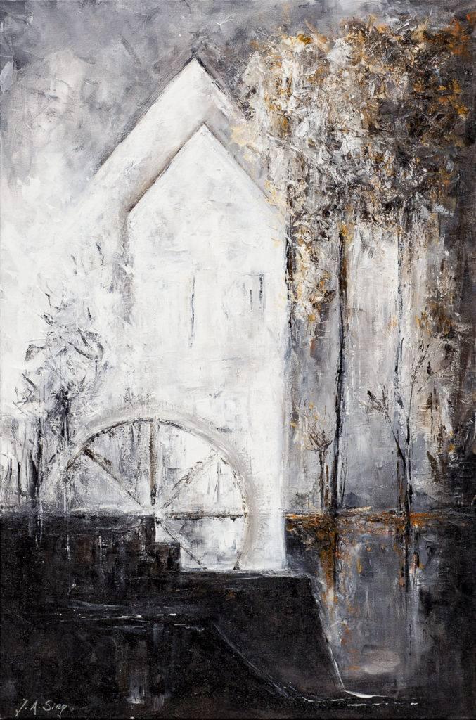 Młyn - Aurelia Sikiewicz-Wojtaszek (2019), obraz akrylowy na płótnie