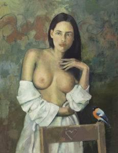 Dziewczyna z ptaszkiem - Maciej Kempiński (2018), obraz olejny na płótnie