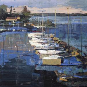 Przystań nad jeziorem Rozkoš - Maciej Kempiński (2019), obraz akrylowy na płótnie