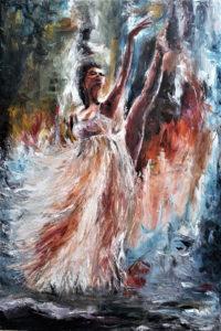 Baletnica w tańcu II - Aurelia Sikiewicz-Wojtaszek (2019), obraz olejny na płótnie