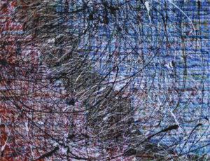 W głębi - Jacek Jasiniak (2018), kredka, pastel, pisak, tusz, akwarela, tempera, emalia akrylowa, papier, płótno