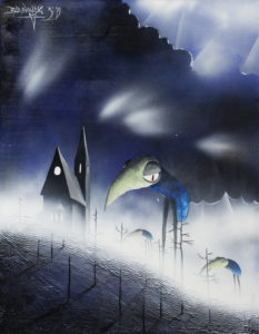 Pielgrzymi nocy i Góra Kilkudrzewa - Bartłomiej Baranowski (2019), obraz akrylowy na płótnie