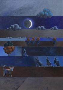 Nocne koty - Jakub Szymański (2020), obraz akrylowy na płótnie