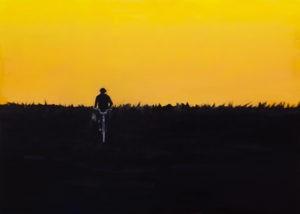 Jazda od świtu do nocy - Małgorzata Śmigielska (2020), obraz olejny na płótnie