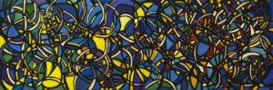 Z cyklu – Słońca - Barbara Bielecka-Woźniczko (2019), akryl, olej, szlagmetal, płótno