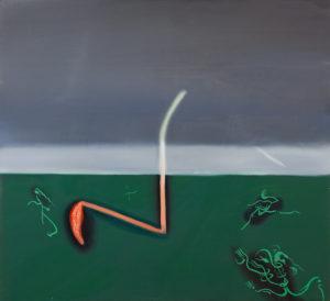 Przerażeni pierdolnięciem (Śmierć Pawełka Zadrożnego) - Kacper Woźny (2019), obraz olejny na płótnie