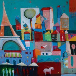 Bajki Paryskie - Mirosław Nowiński (2020), obraz akrylowy na płótnie