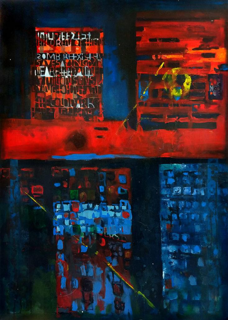 Melt – the City - Bartłomiej Michał Górecki (2020), obraz akrylowy na płótnie