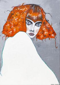 Kobieta w piżamie - Karolina Kucharska (2015), obraz akrylowy na płótnie