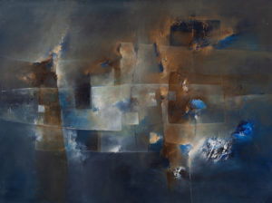 Abstrakcja z rdzawym niebem - Nina Zielińska-Krudysz (2020), obraz olejny na płótnie