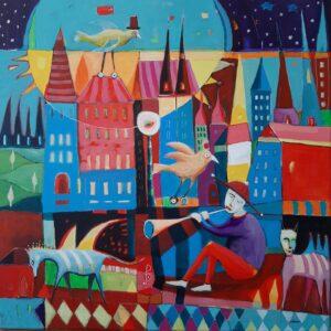 Ptasia melodia - Mirosław Nowiński (2020), obraz akrylowy na płótnie