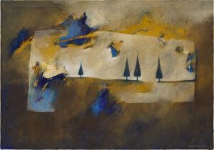 Pejzaż i okruchy nieba - Nina Zielińska-Krudysz (2020), obraz olejny na płótnie