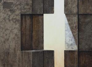 Z cyklu materia ciszy - Ewa Zawadzka (2019), obraz na płótnie wykonany techniką własną