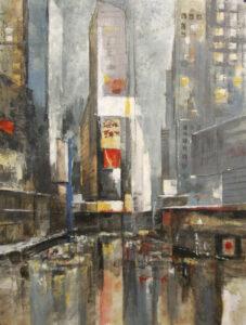 Times square - Czesław Piotr Szczepański (2020), obraz olejny na płótnie