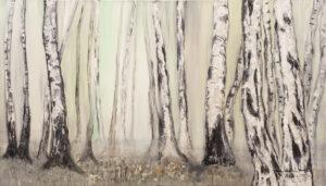 Zagajnik spokojnych myśli - Mariola Świgulska (2020), obraz akrylowy na płótnie wykonany techniką własną