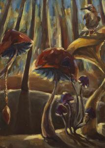 Sójka - Barbara Kozaczkiewicz (2020), obraz akrylowo-olejny na płótnie