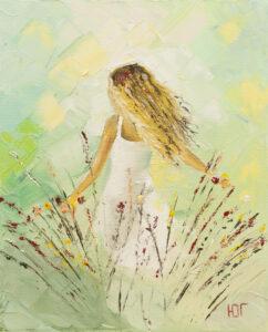 Buszująca w kwiatach - Yulia Gurzhiyants (2020), obraz olejny na płótnie