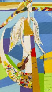 Anioł ze skrzypcami - Neli Lukashyk (2020), obraz akrylowy na płótnie