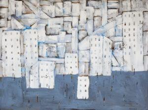 Bloki - Filip Łoziński (2020), obraz olejno-akrylowy na płótnie
