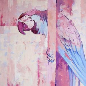 Papuga - Paulina Lewandowska (2020), obraz akrylowy na płótnie