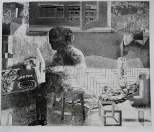 Kolekcjoner - Tomasz Daniec (1998), akwaforta, papier