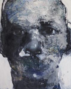 Maska czy twarz IX - Aleksandra Modzelewska (2020), akryl, olej, węgiel, klej, płótno