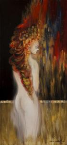 Aura kobiecości z cyklu Fascynacja Klimtem - Mariola Świgulska (2020), obraz akrylowy na płótnie