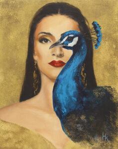 Królowa ptaków III - Khrystyna Hladka (2020), obraz akrylowy na płótnie