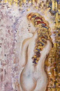 Pewna swego wdzięku z cyklu Fascynacja Klimtem - Mariola Świgulska (2020), obraz olejno-akrylowy na płótnie