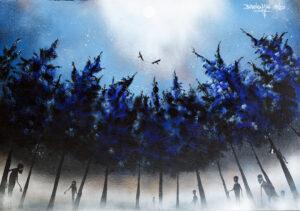 Nocne plemię - Bartłomiej Baranowski (2020), obraz akrylowy na płótnie