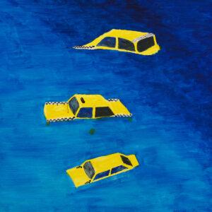Żółte zatopione taksówki - Patryk Lutomski (2020), obraz akrylowy na płótnie