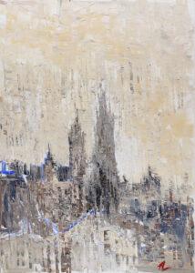 Kraków we mgle - Agnieszka Słońska-Więcek (2020), obraz akrylowy na płótnie