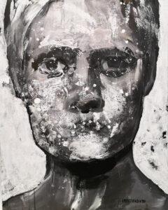 Maska czy twarz - Aleksandra Modzelewska (2020), akryl, papier, płótno