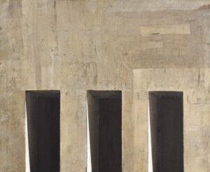 Z cyklu Materia ciszy 0414 - Ewa Zawadzka (2019), obraz na płótnie wykonany techniką własną