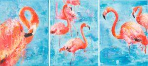 Flamingos - Khrystyna Hladka (2019), obraz akrylowy na płótnie