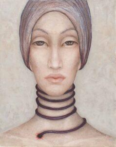 Bez tytułu z cyklu Kobiety w chustach - Iza Staręga (2018), obraz na płótnie wykonany techniką własną