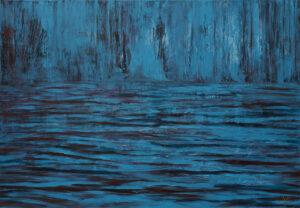 Jezioro spokoju - Izabela Drzewiecka (2020), technika mieszana, olej, akryl, płótno