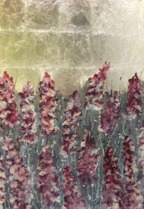 Gladiolus - Mariola Świgulska (2019), akryl, szlagmetal, płótno