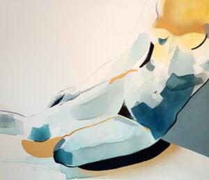 Granatowa melancholia - Natalia Fundowicz (2020), akryl, tusz, spray, akwarela, płótno
