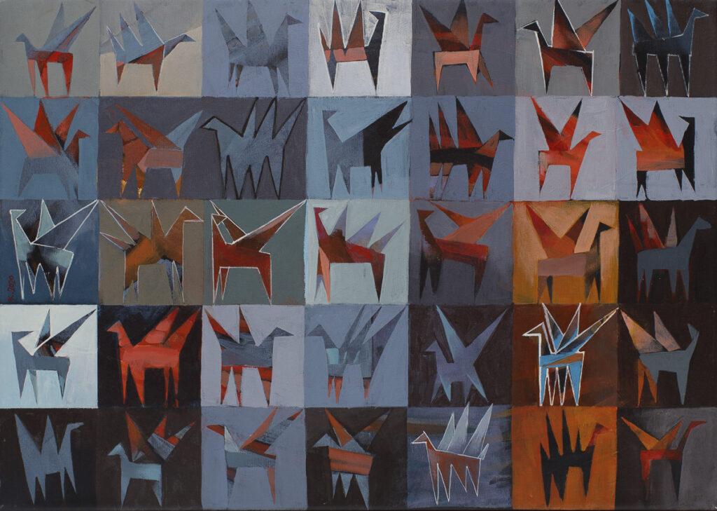 Pegazy - Jakub Szymański (2020), obraz akrylowy na płótnie