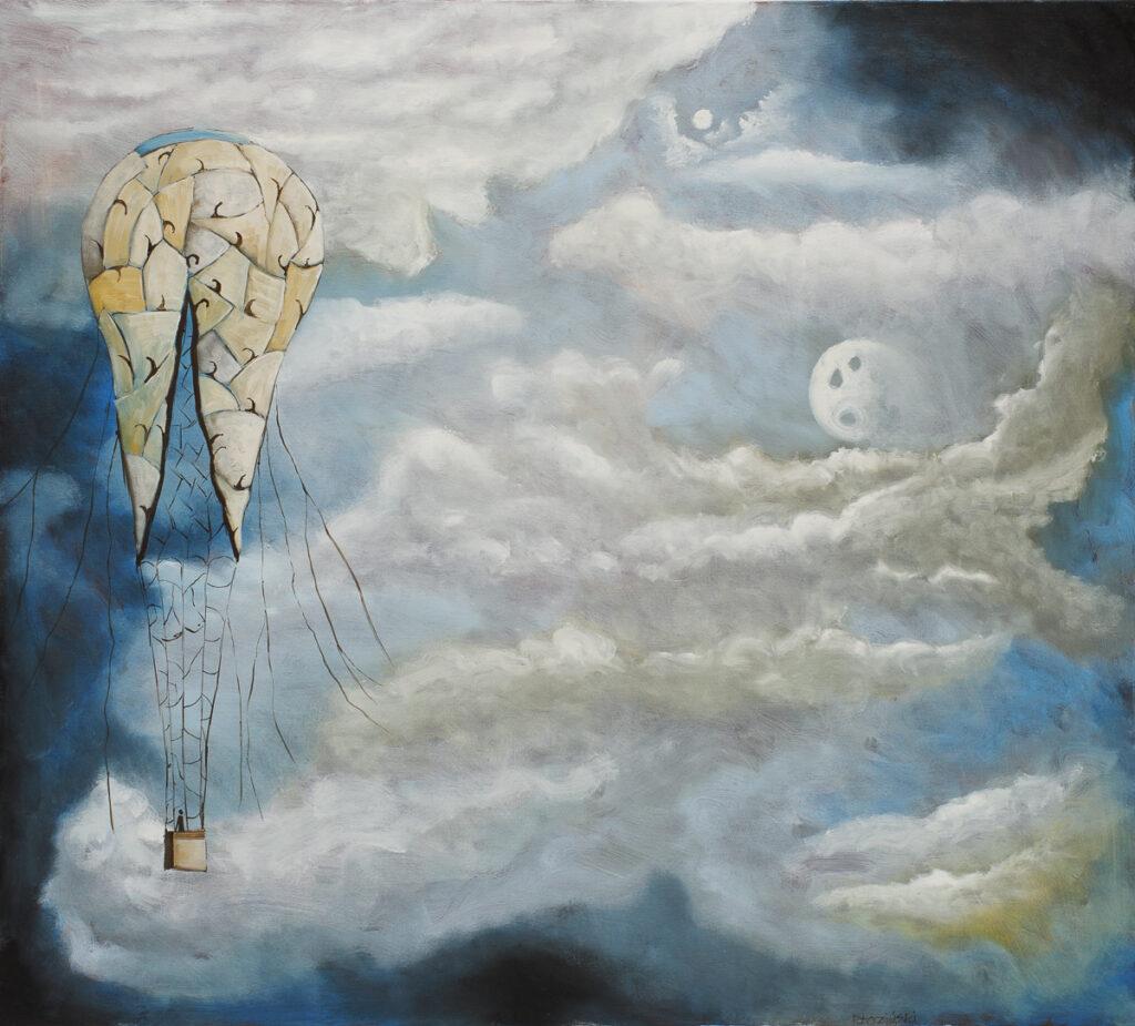 Sen śni się bez właściciela - Filip Łoziński (2020), obraz olejny na płótnie